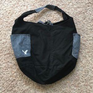 American Eagle black & blue tote/shoulder/hobo bag